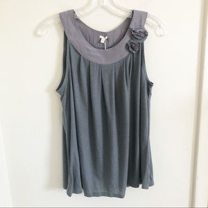 J. Crew | NWT Gray Embellished Flower Tank Top